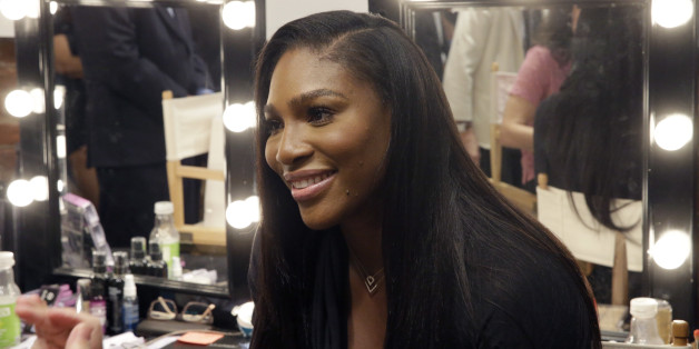 Serena Williams speaks to reporters after presenting the Serena Williams Spring 2016 collection during Fashion Week in New York, Tuesday, Sept. 15, 2015. (AP Photo/Mary Altaffer)