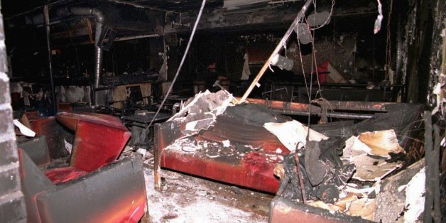 View of the burned sofas inside the topless bar and discotheque Mea Culpa, where three masked men carrying guns burst in, poured gasoline on the floor and set it alight, Wednesday April 16 1997 in Amarante, east of Oporto, northern Portugal. Twelve people were killed and 14 injured. (AP Photo/Francisco Neves) ** PORTUGAL OUT **
