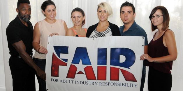 IMAGE DISTRIBUTED FOR AIDS HEALTHCARE FOUNDATION - Safer sex advocates including former adult film performers, from left, Darren Edwards, Vanessa Blake, Sofia Delgado, Cameron Adams, Derrick Burts, and Hayden Winters are seen at a press conference at Sheraton Universal Hotel in Los Angeles on Monday, Sept. 14, 2015. Advocates from AHF, and the group FAIR (For Adult Industry Responsibility) announced the filing of 557,136 signatures of registered voters in order to qualify for a statewide ballot