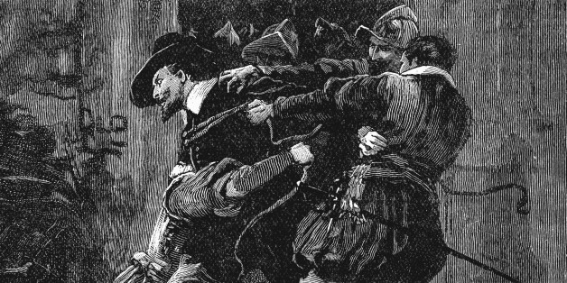 UNSPECIFIED - CIRCA 1754: Gunpowder Plot, Roman Catholic conspiracy to blow up English Houses of Parliament on 5 November 1605 when James I was due to open new session. Arrest of Guy Fawkes in cellars of Parliament. 19th century wood engraving. (Photo by Universal History Archive/Getty Images)