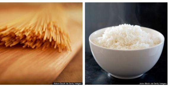 arroz vs macarrão