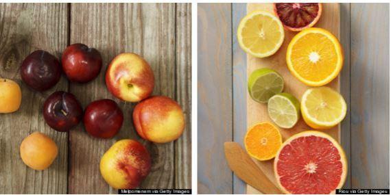 frutas com caroço vs cítricas