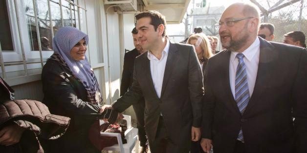 Der griechische Premierminister Alexis Tsipras und EU-Paralemantspräsident Martin Schulz auf Lesbos