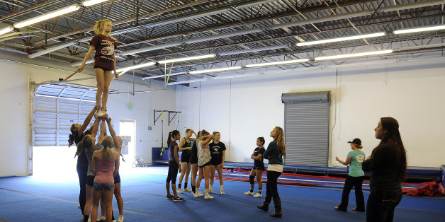 THORNTON, CO - OCTOBER 5: Students with Horizon High School train at Empire Athletics on October 5, 2015, in Thornton, Colorado. Empire Athletics offers classes in gymnastics and cheerleading. (Photo by Anya Semenoff/The Denver Post via Getty Images)