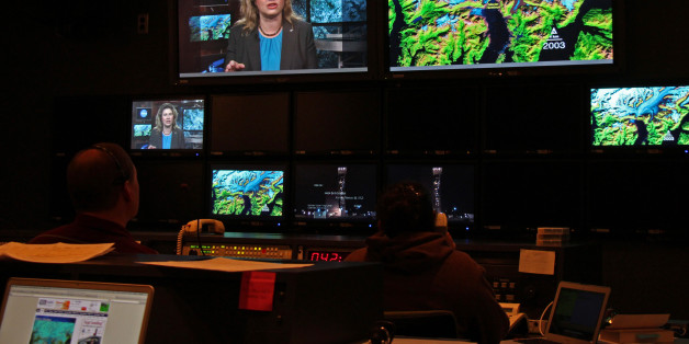 Doug Morton, Michelle Thaller, and Eric Brown de Colston conducted media interviews the morning before the launch of the Landsat Data Continuity Mission (LDCM), Monday Feb. 11, 2013 from the Goddard's television studio.