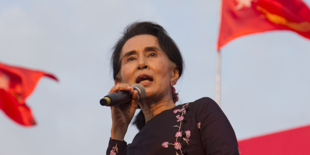 Myanmar opposition leader Aung San Suu Kyi speaks during an election campaign rally of her National League for Democracy party for upcoming general election Sunday, Nov 1, 2015, in Yangon, Myanmar. Myanmar's general elections are scheduled for Nov. 8, the first since a nominally civilian government was installed in 2011. (AP Photo/Khin Maung Win)
