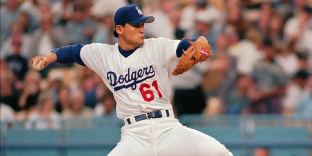 Los Angeles Dodgers pitcher Chan Ho Park throws in the first inning of play against the St. Louis Cardinals Friday, June 6, 1997 in Los Angeles. (AP Photo/Michael Tweed)