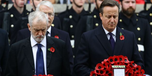 Labour party leader Jeremy Corbyn (left) and Prime Minister David Cameron wait to lay wreaths during the annual Remembrance Sunday service at the Cenotaph memorial in Whitehall, central London, held in tribute for members of the armed forces who have died in major conflicts.