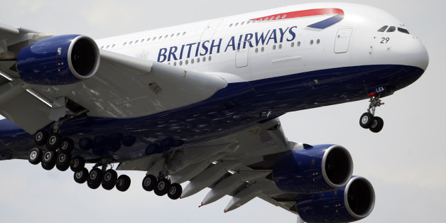 A British Airways Airbus A380 performs its demonstration flight during the 50th Paris Air Show at Le Bourget airport, north of Paris, Wednesday, June 19, 2013. (AP Photo/Francois Mori)