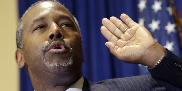 "Republican presidential candidate Ben Carson speaks to reporters during a news conference before the Black Republican Caucus of S. Florida ""Diamonds & Ice"" Scholarship gala, Friday, Nov. 6, 2015, in Palm Beach Gardens, Fla. (AP Photo/Alan Diaz)"