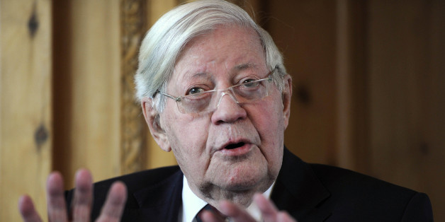 Former German Chancellor Helmut Schmidt speaks during a luncheon at the Axel Springer publishing house in Berlin, on Wednesday, Sept. 29, 2010. The former head of state and other dignitaries unveiled a bronze statue of former US President George Bush to stand along side statues of former Soviet President Michail Gorbachev and Former German Chancellor Helmut Kohl at the Springer's Berlin headquarters near the former checkpoint Charlie along the Berlin wall, some days ahead of the 20th anniversary of Germany's reunification on Oct. 3.  (AP Photo/Odd Andersen, Pool)