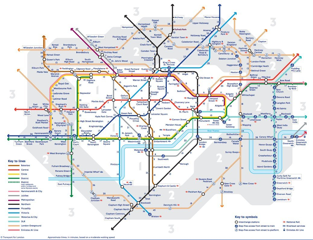 tube walking map