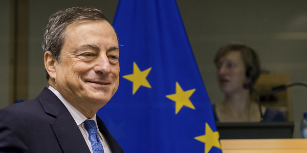 President of the European Central Bank Mario Draghi arrives to address the committee on economic and monetary affairs at the European parliament in Brussels on Thursday, Nov. 12, 2015. (AP Photo/Geert Vanden Wijngaert)