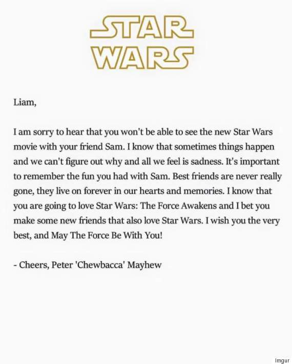 letter from chewbacca