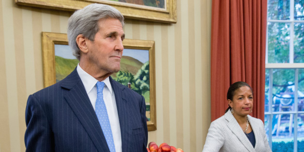Secretary of State John Kerry and National Security Adviser Susan Rice stand in the Oval Office in Washington, Monday, Nov. 9, 2015, as President Barack Obama meets with Israeli Prime Minister Benjamin Netanyahu. The president and prime minister sought to mend their fractured relationship during their meeting, the first time they have talked face to face in more than a year. (AP Photo/Andrew Harnik)