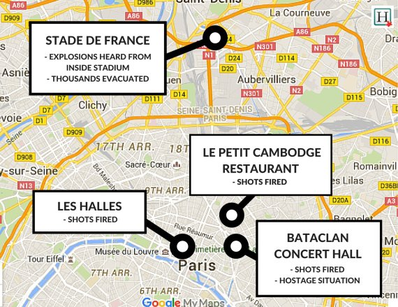 Bataclan Concert Hall Paris Map.Paris Shootings Hostage Taking And Explosions Kill At Least 127