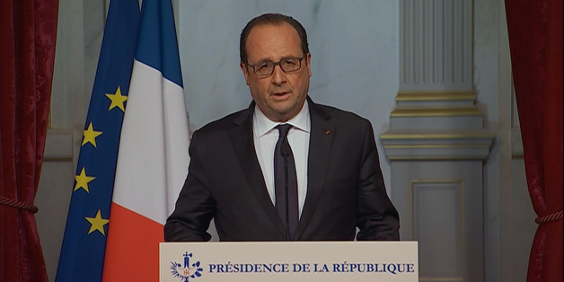 This image taken from the French television pool shows French President, Francois Hollande making an emergency broadcast Friday evening, Nov. 13, 2015. Several dozen people were killed Friday in the deadliest attacks to hit Paris since World War II, French President Francois Hollande said, announcing that he was closing the country's borders and declaring a state of emergency. (French televison pool via AP)  FRANCE OUT