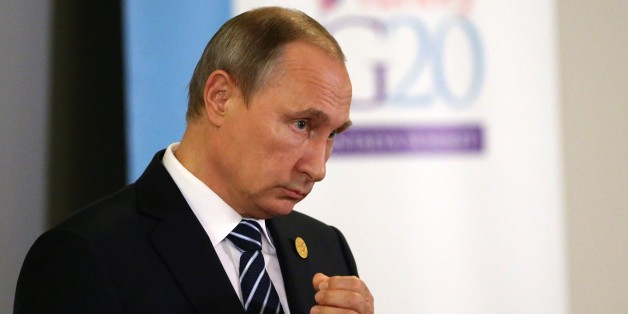 ANTALYA, TURKEY - NOVEMBER 16: Russian President Vladimir Putin makes a speech following the G20 Antalya Summit on November 16, 2015 in Antalya, Turkey. World leaders are attending the two-day G20 summit in Turkey in the wake of the Paris terror attacks. The Syrian conflict, the migration crisis and the threat of Islamic State are expected to top the agenda. (Photo by Sasha Mordovets/Getty Images)