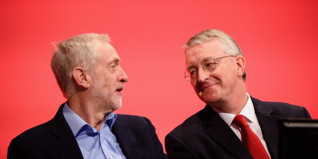 Leader of the Labour Party Jeremy Corbyn and Shadow Foreign Secretary Hilary Benn at Labour party conference in September