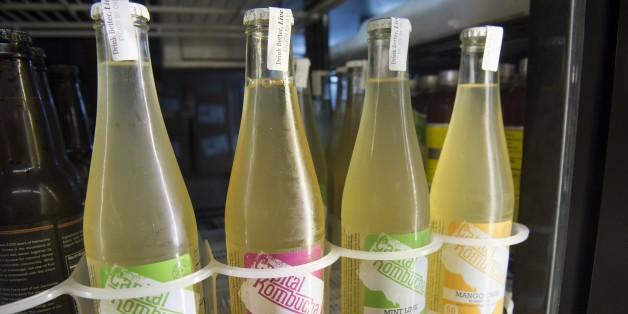 Kombucha-Flaschen aus China in einem amerikanischen Geschäft.