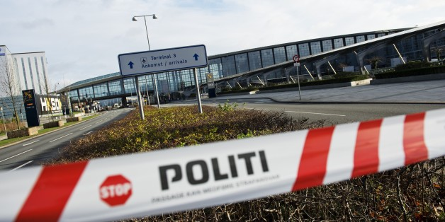 A barrier tape of the police is seen outside terminal 3 at Kastrup airport in Copenhagen on November 18, 2015. Danish police evacuated one of two terminals at Copenhagen's Kastrup Airport because of a suspicious bag, airport officials and police said.    AFP PHOTO / JONATHAN NACKSTRAND        (Photo credit should read JONATHAN NACKSTRAND/AFP/Getty Images)