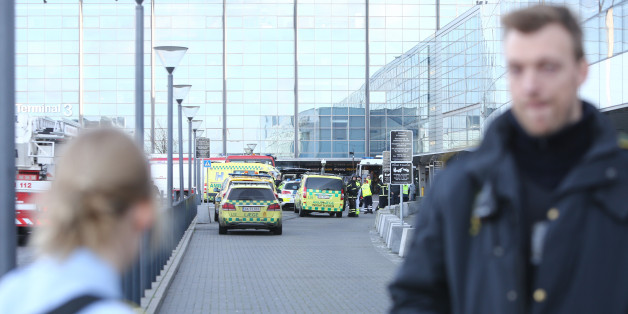 Emergency services vehicles are parked  outside the International Airport of Copenhagen which  was evacuated due to a bomb alert on Wednesday, Nov. 18. 2015.  No bomb was found. (Lasse Kofod/AP via POLFOTO)  DENMARK OUT