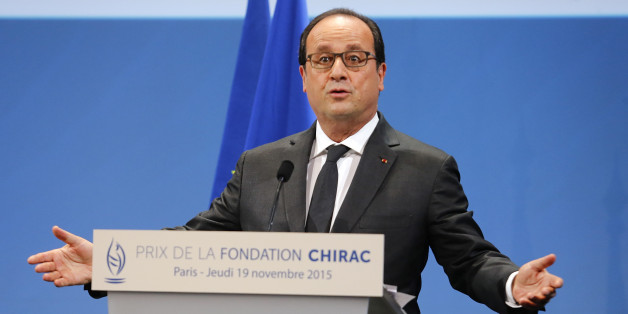 French President Francois Hollande delivers his speech at the Chirac Foundation prize-giving ceremony Thursday, Nov. 19, 2015 in Paris.  Hollande has delivered an emotional speech in Paris at the Chirac Foundation's annual Conflict Prevention Prize ceremony - in which the French president repeated his country's commitment to fight extremism. (AP Photo/Jacques Brinon)