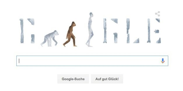 Das Google-Doodle vom 24. November zeigt Australopithecus Afarensis.