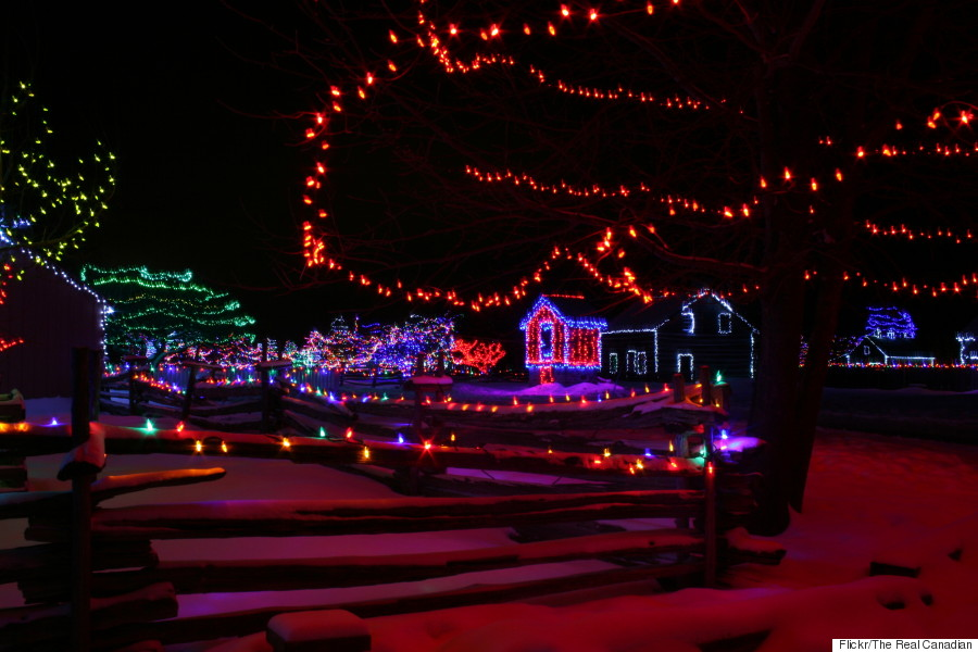 upper canada village alight at night