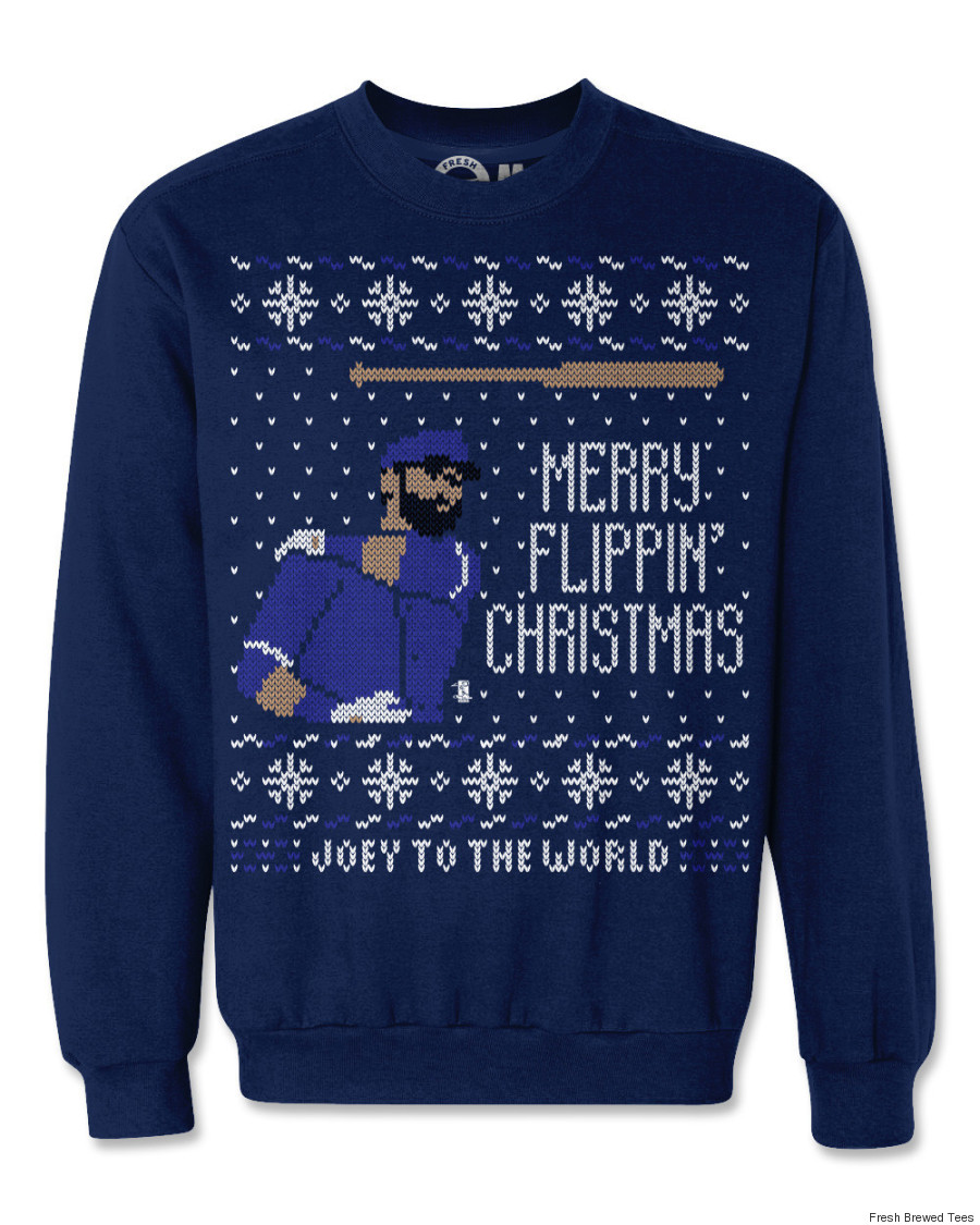 joey bautista bat flip christmas sweater