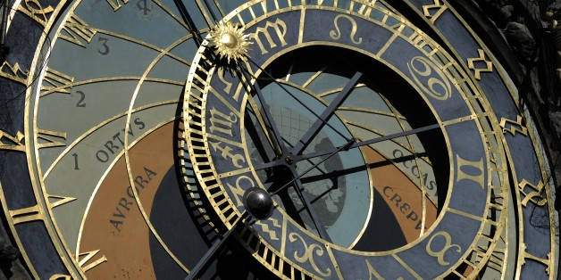 Czech Republic, Bohemia, Prague, Old Town Square. Astronomical clock at Old Town Hall Tower, Astromical dial. (Photo by: PHAS/UIG via Getty Images)