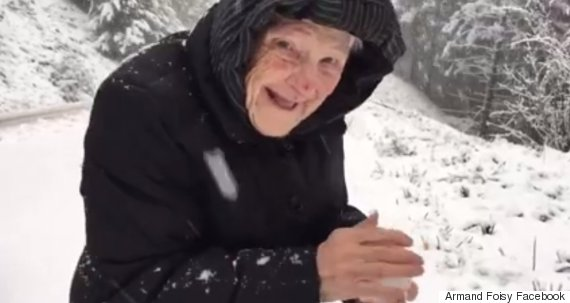 101 year old in the snow