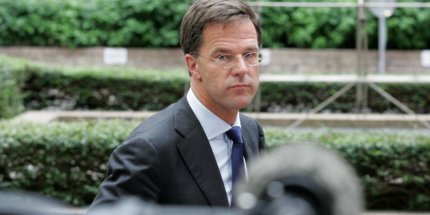 Dutch Prime Minister Mark Rutte arrives for an emergency summit of eurozone heads of state or government at the EU Council building in Brussels on Tuesday, July 7, 2015. Greek Prime Minister Alexis Tsipras was heading Tuesday to Brussels for an emergency meeting of eurozone leaders, where he will try to use a resounding referendum victory to eke out concessions from European creditors over a bailout for the crisis-ridden country. (AP Photo/Francois Walschaerts)