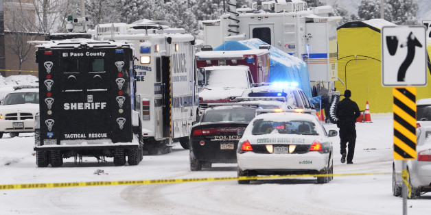 COLORADO SPRINGS,CO -  November 28: The investigation begins at the scene of a shooting at the Colorado Planned Parenthood clinic November 28, 2015. Authorities identified the suspect as Robert Lewis Dear who shot and killed a University of Colorado Colorado Springs police officer Garrett Swasey and two other people Friday November 27, 2015. Several others were injured during the shootout including several Colorado Springs police officers. Photo by Andy Cross/The Denver Post via Getty Images