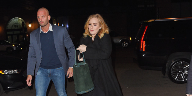 NEW YORK - NOVEMBER 26: Adele pick up a male friend at Morimoto restaurant and head to Nobu together for dinner on November 26, 2015 in New York, New York.  (Photo by Josiah Kamau/BuzzFoto via Getty Images)