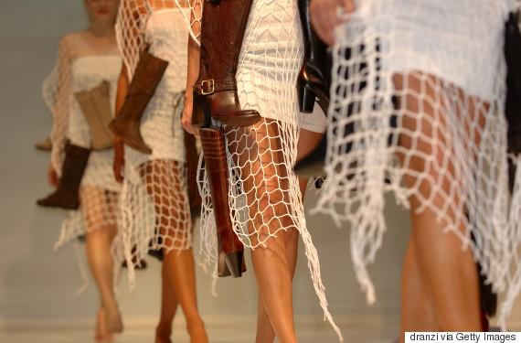 models legs on catwalk