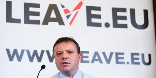 British businessman Arron Banks takes part in a press briefing by the 'Leave.EU' campaign group in central London on November 18, 2015. Britain will decide in a referendum to be held by 2017 if they should remain within the European Union. AFP PHOTO / LEON NEAL        (Photo credit should read LEON NEAL/AFP/Getty Images)