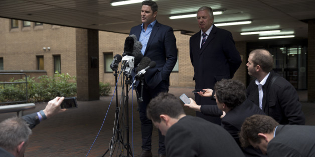 Former New Zealand cricket captain Chris Cairns speaks to the media after being found not-guilty in his perjury trial at Southwark Crown Court in London, Monday, Nov. 30, 2015. Cairns was cleared Monday of perjury and perverting the course of justice during a libel action about match-fixing but said he believes his career in the sport is over. The London jury cleared the retired cricketer of all charges at the end of a nine-week trial at Southwark Crown Court. (AP Photo/Matt Dunham)