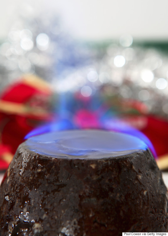 christmas pudding fire