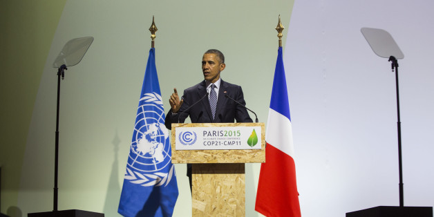 President Barack Obama delivers remarks during the COP21, United Nations Climate Change Conference, in Le Bourget, outside Paris, on Monday, Nov. 30, 2015. (AP Photo/Evan Vucci)