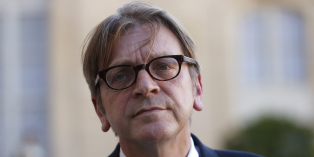 Guy Verhofstadt, Belgian member of the European Parliament, leader of the Alliance of liberals and Democrats for Europe (ALDE) group, and former Belgium prime minister, speaks to journalists after a meeting with French President at the Elysee Presidential Palace, on September 29, 2015 in Paris. AFP PHOTO / THOMAS SAMSON        (Photo credit should read THOMAS SAMSON/AFP/Getty Images)