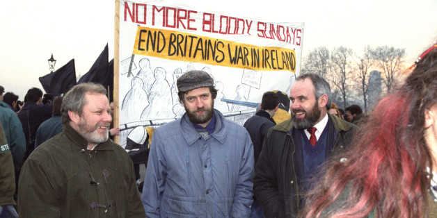 Labour MP Jeremy Corbyn (centre) pictured with Sinn Fein's Francie Molloy (right) and Gerry MacLochlainn during a demonstration march to marks 20 years since Bloody Sunday
