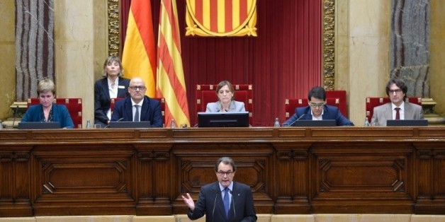 Le président indépendantiste catalan Artur Mas, lors d'une session au Parlement à Barcelone, le 9 novembre 2015