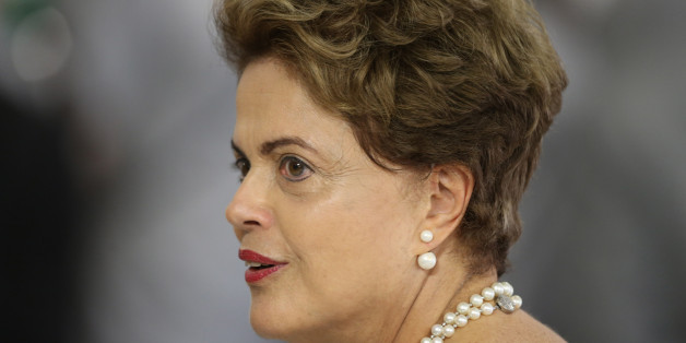 Brazil's President Dilma Rousseff attends a meeting with members of the Women's Handball national team, at the Planalto Presidential Palace, in Brasilia, Brazil, Wednesday, Nov. 25, 2015. (AP Photo/Eraldo Peres)