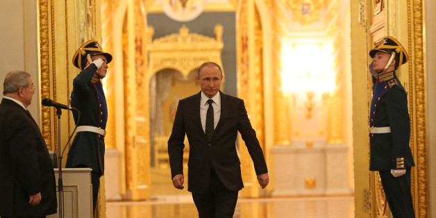 MOSCOW, RUSSIA - DECEMBER 03: (RUSSIA OUT) Russian President Vladimir Putin arrives at the hall to deliver the Federal Assembly annual speech in Grand Kremlin Palace on December 3, 2015 in Moscow, Russia. (Photo by Sasha Mordovets/Getty Images)