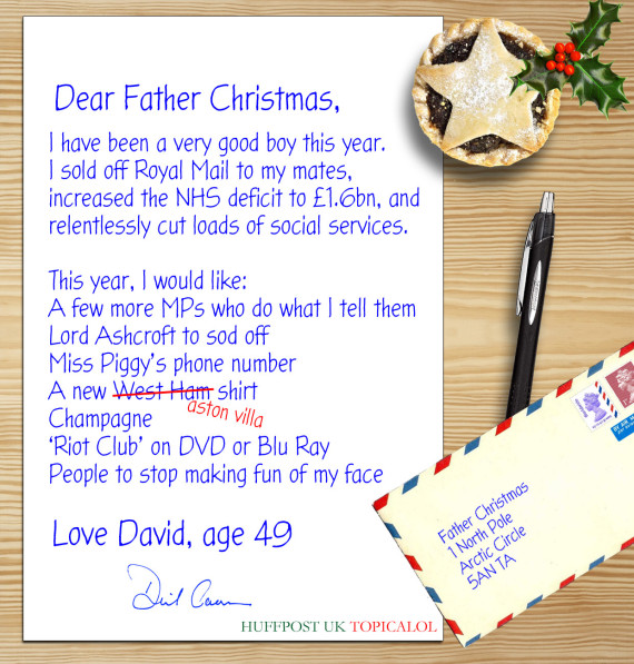 David camerons letter to father christmas leaked spiritdancerdesigns