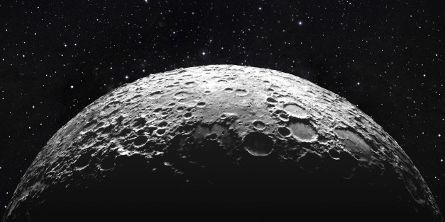 3d rendering, moon surface..