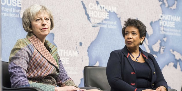 Theresa May and  Loretta Lynch, US Attorney General