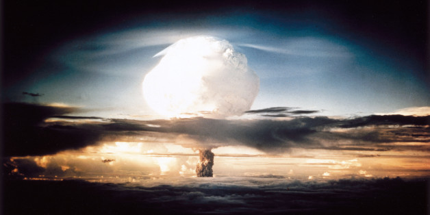 The mushroom cloud produced by the first explosion by the Americans of a hydrogen bomb at Eniwetok Atoll in the South Pacific. Known as Operation Ivy, this test represented a major step forwards in terms of the destructive power achievable with atomic weapons. The hydrogen, or fusion, bomb used a fission device similar to those dropped on Hiroshima and Nagasaki at the end of World War II, detonated inside a container containing deuterium. The high temperatures invol