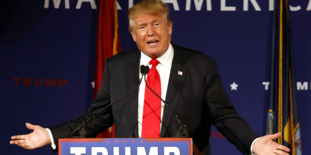 FILE - In this Dec. 7, 2015 file photo, Republican presidential candidate, businessman Donald Trump speaks aboard the aircraft carrier USS Yorktown in Mt. Pleasant, S.C. (AP Photo/Mic Smith, File)